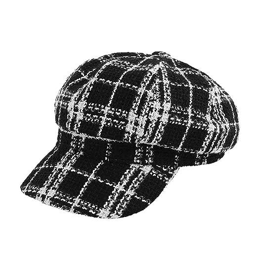 e417c6366a4 ZESLMG Fashion Octagonal Check hat Womens Korean Travel Artist Cap Girls Cap  Autumn Winter (Black