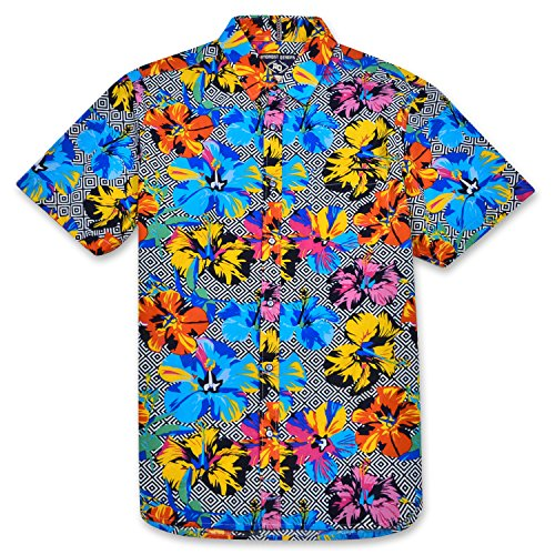 Amongst Others Mens Short Sleeve Button Down Printed Pocket Hawaiian Shirt Geo Hibiscus Large