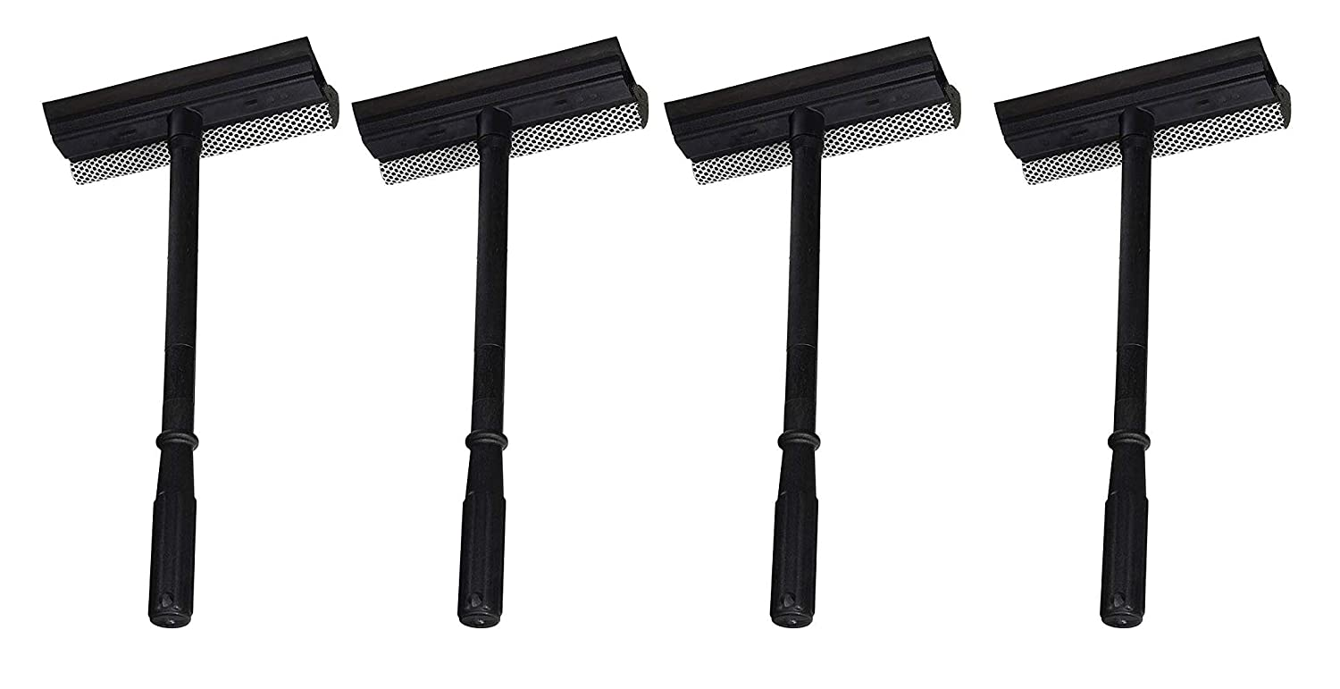 Now with Longer Handle! 5 Pack of Black Duck Brand Window and Windshield Cleaning Sponge and Rubber Squeegee