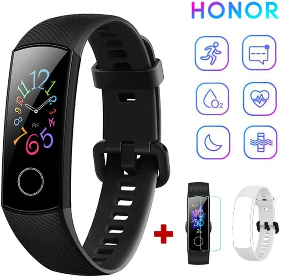 HONOR Band 5 Fitness Tracker Monitor de Ritmo cardíaco (AMOLED 0.95 Pulgadas Reloj Inteligente,5ATM Impermeable,Bluetooth 4.2) Negro