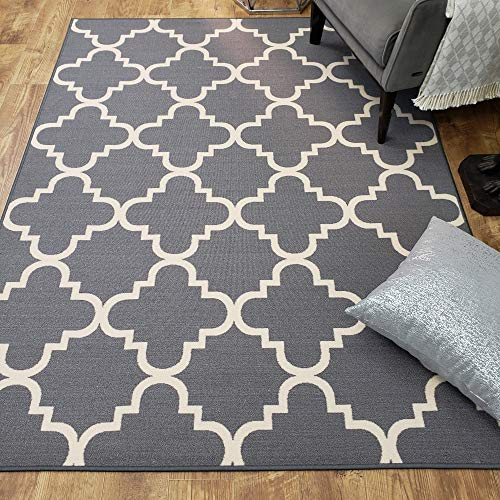 Area Rug 5x7 Gray Trellis Kitchen Rugs and mats | Rubber Backed Non Skid Rug Living Room Bathroom Nursery Home Decor Under Door Entryway Floor Non Slip Washable | Made in Europe