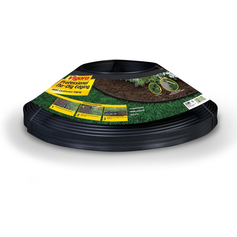 Vigoro Heavy Duty 100 ft. No-Dig Edging Features Thicker, Taller Wall, Flexible and Durable, Easy to Install