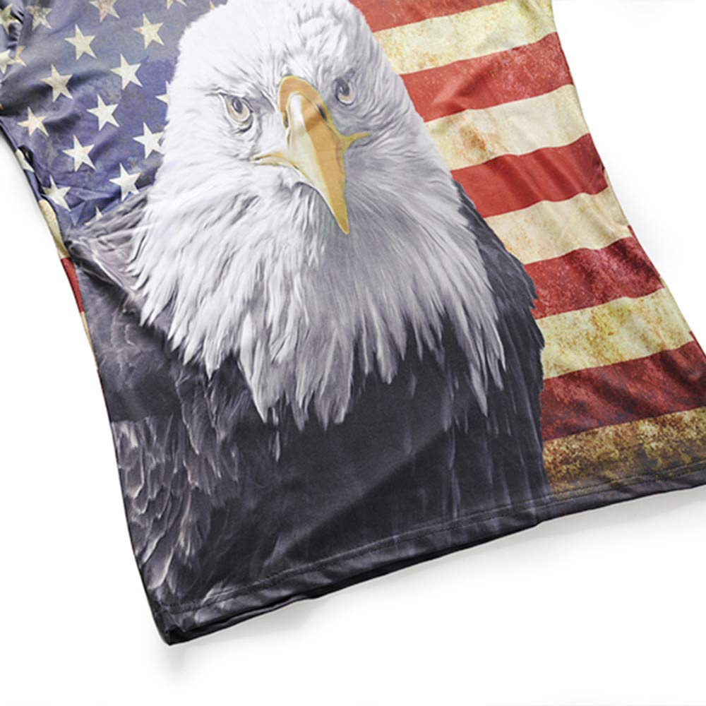 Balakie Shirts for Men Fashion Distressed Flag Eagle Head 3D Printed Blouse Tops