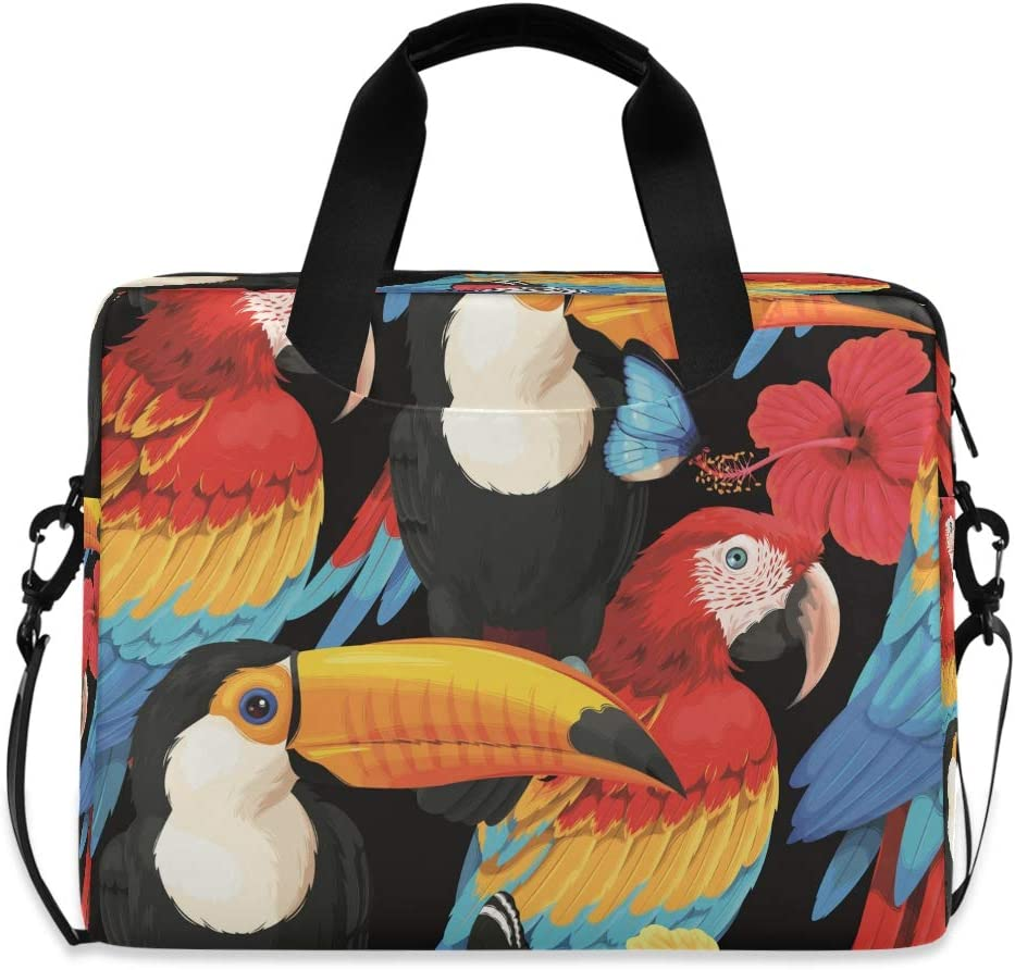 CCDMJ Laptop Case Animal Toucan Macaw Parrot Laptops Sleeve Shoulder Messenger Bag Briefcase Notebook Computer Tablet Bags with Strap Handle for Women Man Boys Girls 16 Inch