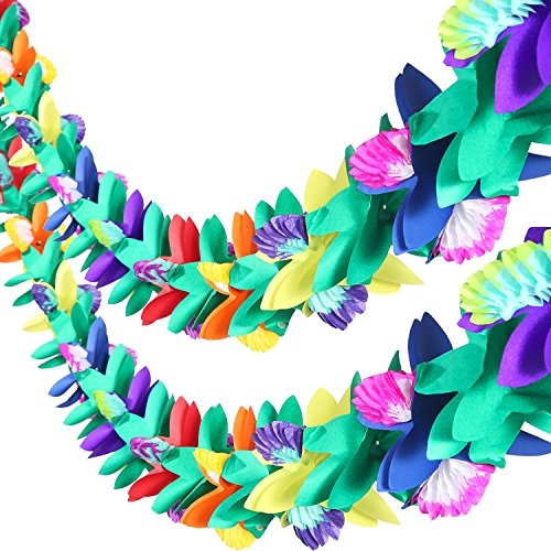 Maxdot 2 Pieces 9 Feet Tropical Multicolor Tissue Flower Garland for Luau Hawaiian Party (9' Party Banner)