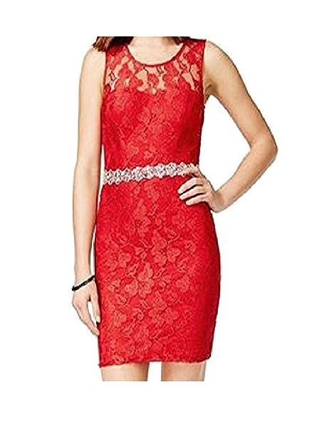 CityStudio Womens Red Sleeveless Jewel Neck Above The Knee Body Con Prom  Dress Juniors US Size da76cccce