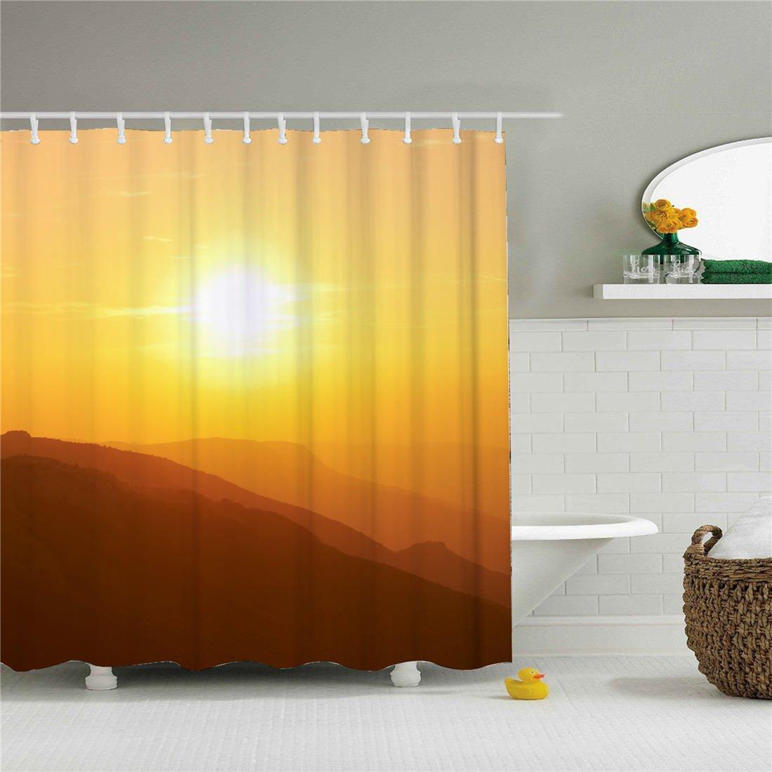 starlight-Bracele Bathroom shower curtain, sunrise peaks, beautiful scenery, orange,polyester% waterproof, mildew, odorless Ladies and men special-purpose.Holiday gifts.