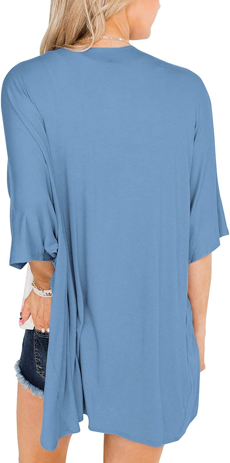 Lightweight Summer Cardigans for Women Solid Color Cotton Kimono Cover Ups Tops 3//4 Sleeve