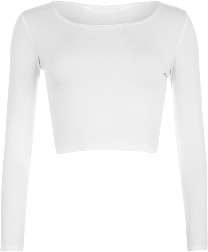 c0dcab14309b WearAll - Mujeres Manga Larga Llanura Recortar la Camiseta Corta Cuello  Redondo Top