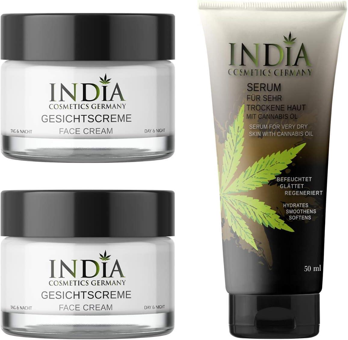 NUEVO. Cara Crema Pack Doble con Cannabis aceite en calidad premium para día y noche relajantes en seco piel reifer piel en rasquizones cáñamo Crema para piel Bella