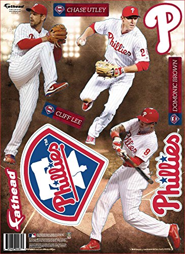 Mlb Phillies Player (MLB Philadelphia Phillies 2014 Three Player Fathead Teammate Wall Decal, 8 x 16-inches)