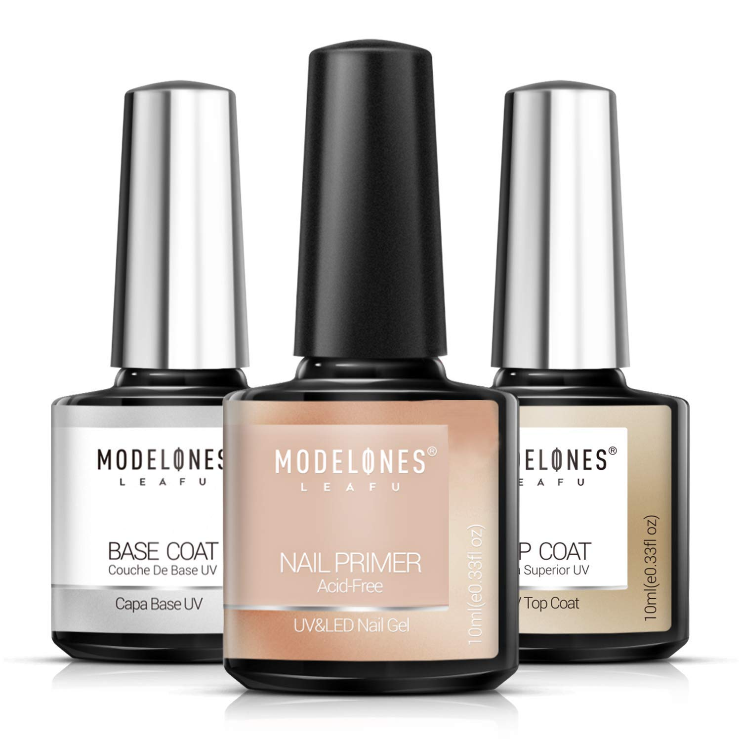 Modelones Gel Nail Polish 3Pcs 0.33 Oz Primer No Wipe Top and Base Coat Set, Non-acid Nail Primer, Shiny and Long-Lasting UV/LED Soak Off Gel Polish : Beauty