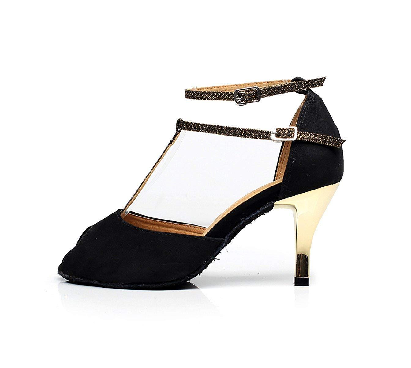 Damen T-Strap Tanzschuhe Salsa Tango Chacha Samba Modern Jazz Schuhe Schwarz-Absatz7.5cm-DE2.5 Sandalen High Heels Schwarz-Absatz7.5cm-DE2.5 Schuhe   EU32   Our33 9be26b
