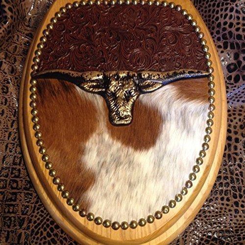 cowboy cowhide western decor longhorn leather toilet seat - Western Decor