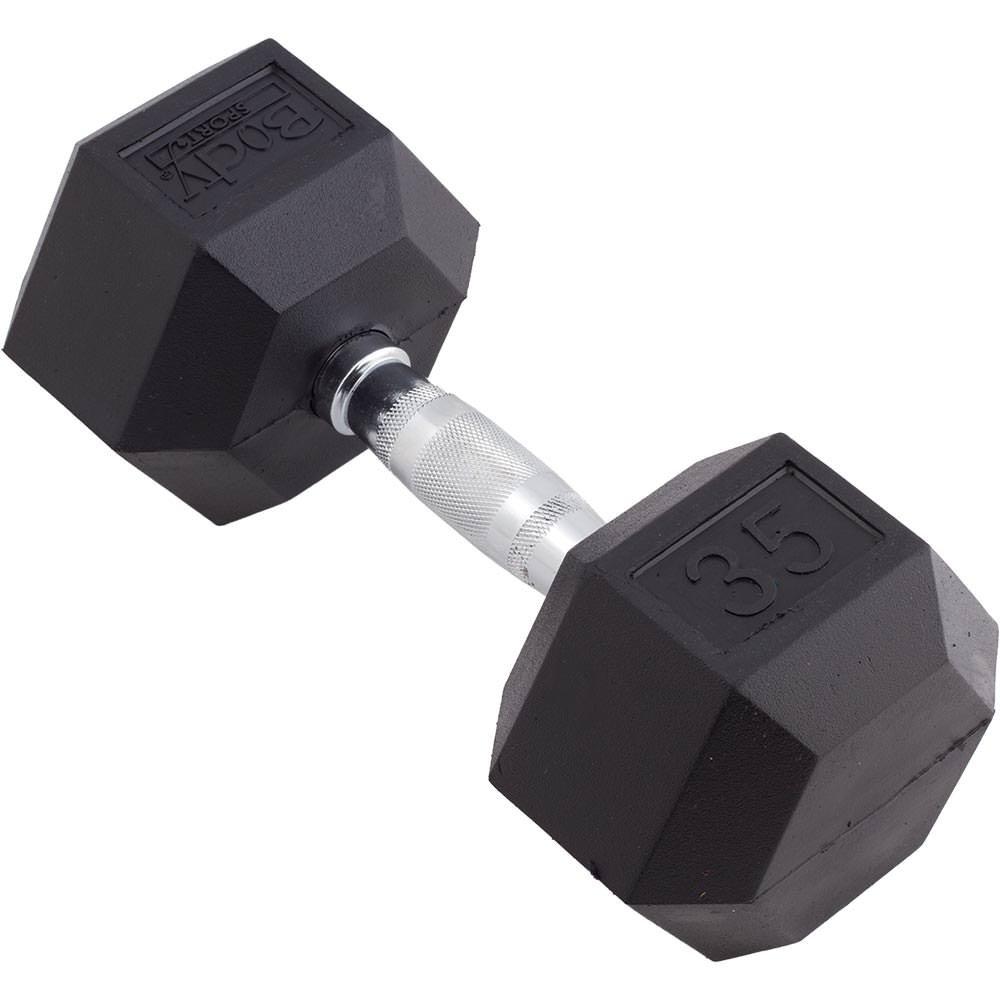 Body Sport Rubber Encased Hex Dumbbell, 35-Pound