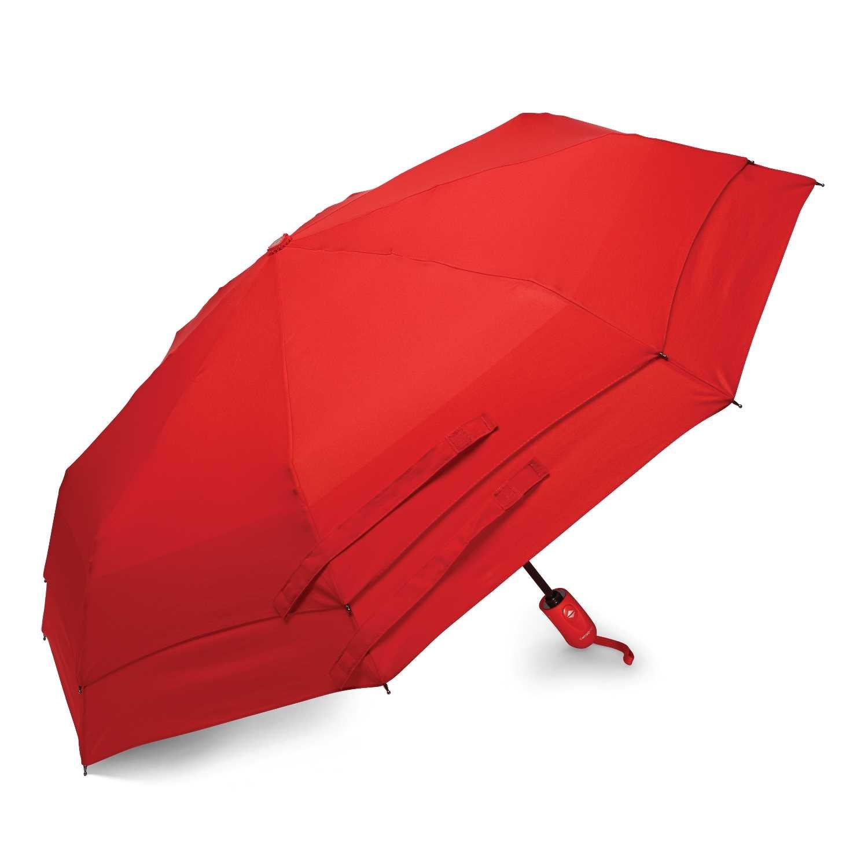 Windguard Auto Open/Close Umbrella, Red, One Size