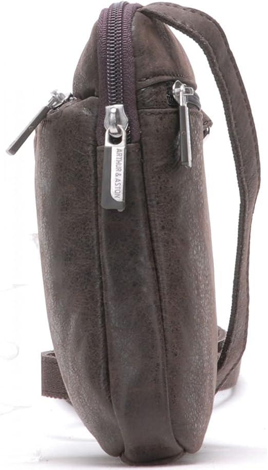 Pochette travers homme en cuir 1438-17 taille 20 cm Arthur et Aston