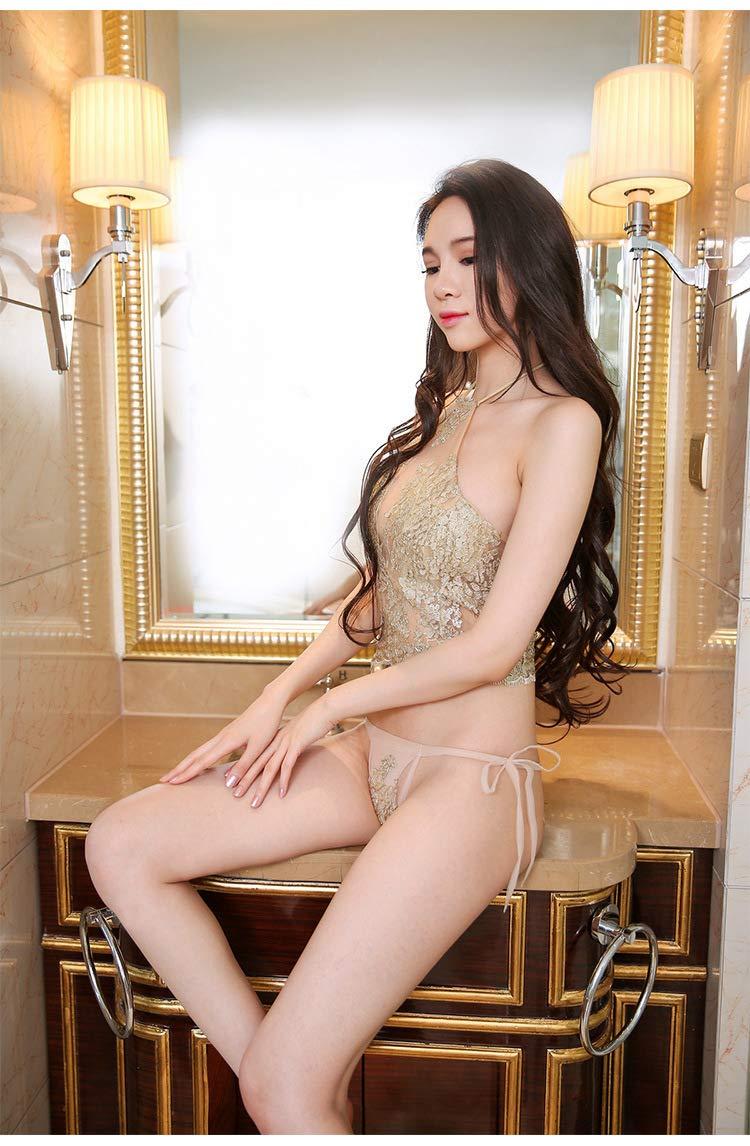 KEDCD Bondage Sexy Sexy Encaje de Pijamas Seda de Oro Colgando Cuello Oro Seda Delantal Pijamas de pestañas 7c50d7