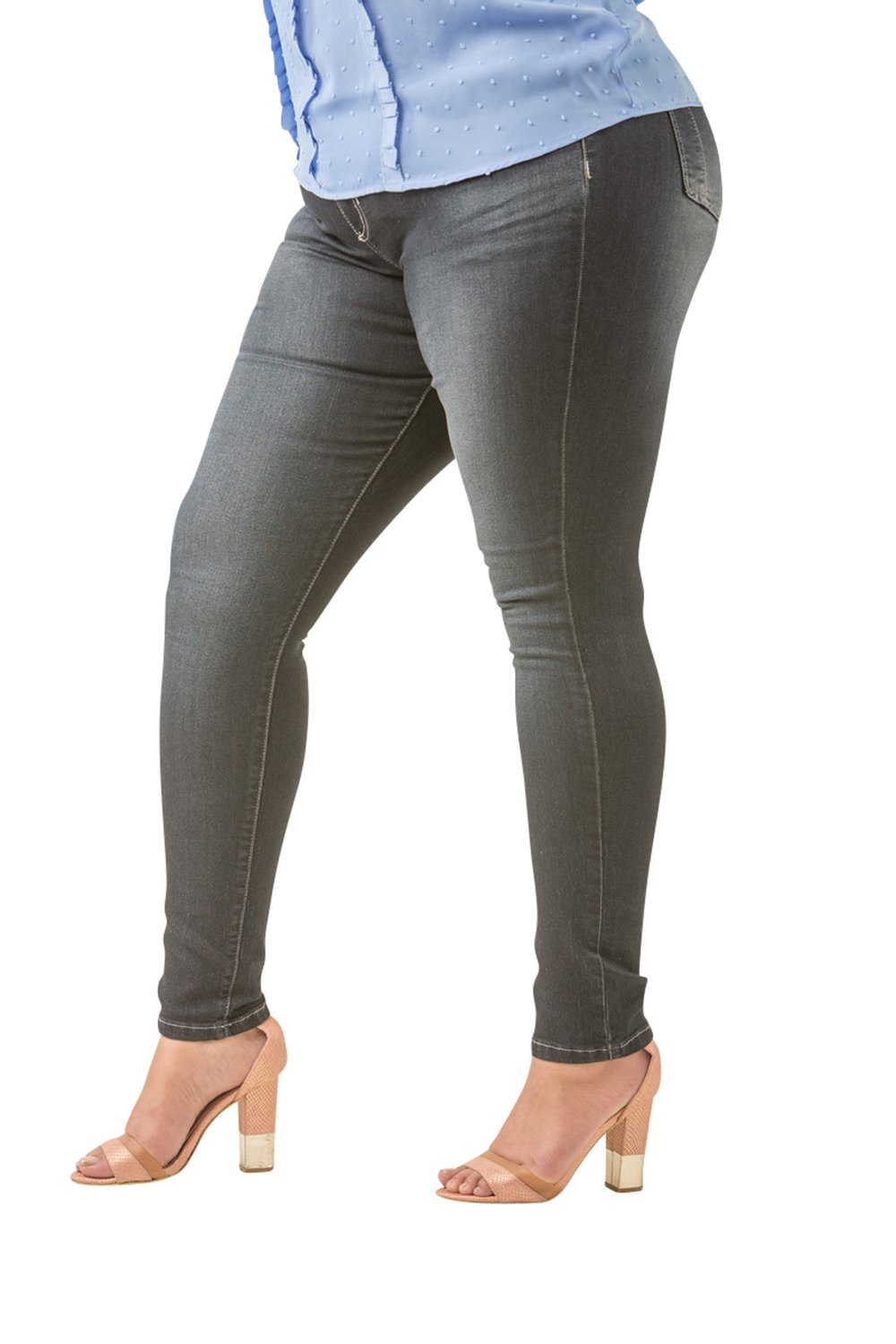 Poetic Justice Plus Size Women's Curvy Fit Stretch Denim Basic Blasted Skinny Jeans Size 16R x 31Plus Size