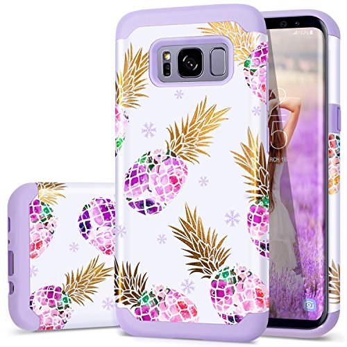Galaxy S8 Plus Case, Pineapple S8 Plus Case, Fingic Floral Pineapple Case Hybrid Anti-Scratch Flexible Silicone and Hard PC Bumper Shockproof Protective Cover for Samsung Galaxy S8 Plus - Purple