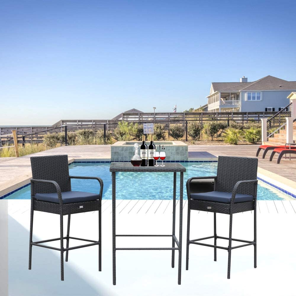 Outime Patio Furniture Outdoor Black Wicker Bar Stool Set Chairs/&Table Navy Blue Cushions 3 Piece