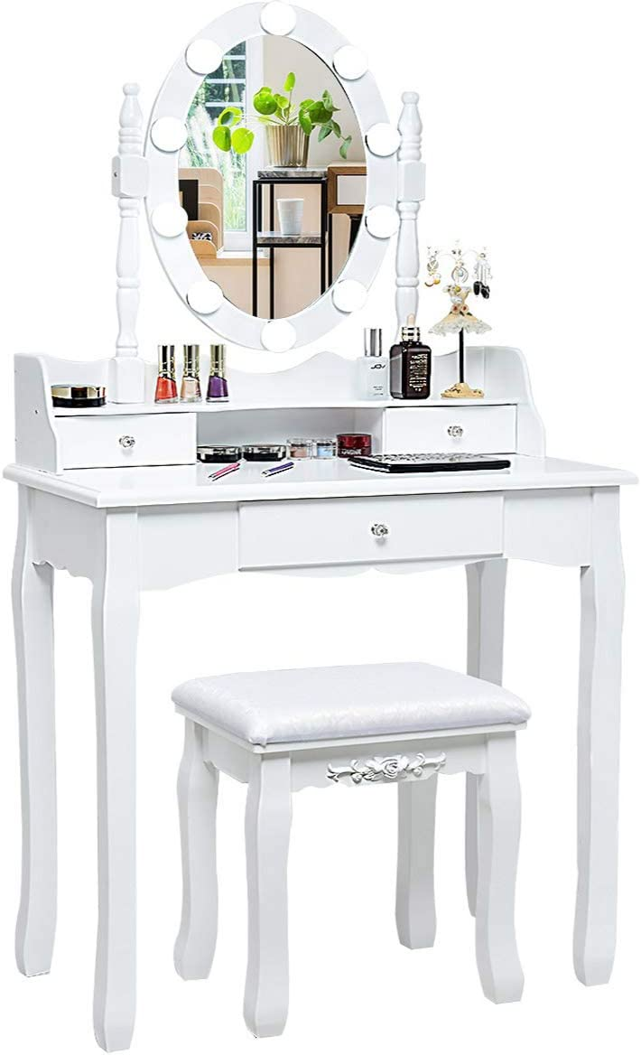 Amazon Com Charmaid Vanity Set With Lighted Oval Mirror Makeup Dressing Table With 10 Led Dimmable Bulbs And 3 Drawers Modern Makeup Table With Cushioned Stool For Bedroom Bathroom White Kitchen Dining