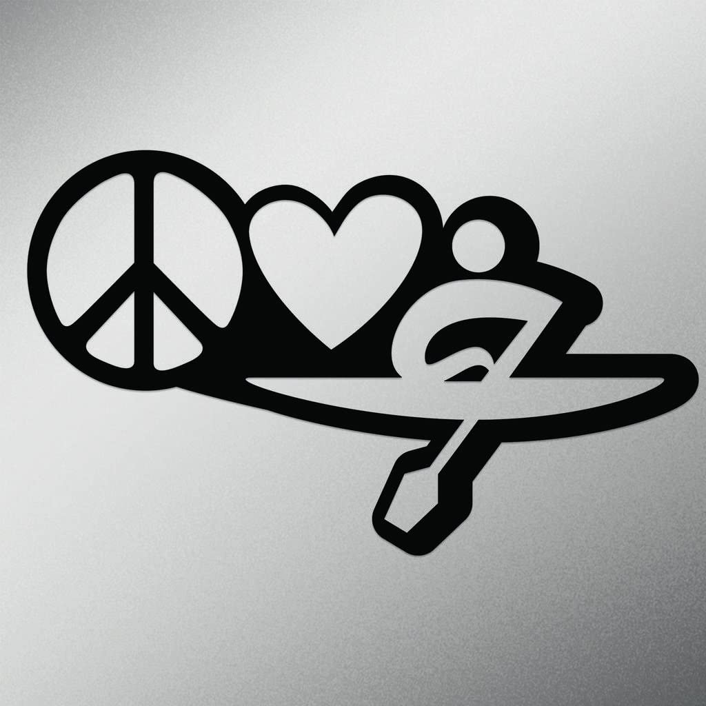 Peace Love Kayak Vinyl Decal Sticker | Cars Trucks Vans Walls Laptops Cups | Black | 7 X 4.2 Inch | KCD1634B