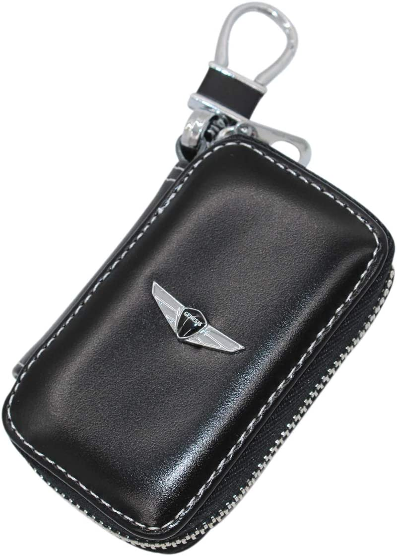 Wall Stickz car Sales Black Leather Car Key Case Remote Control Package Auto Key Chains (fit Genesis)