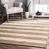 nuLOOM Alisia Flatweave Stripes Jute Rug, 7' 6' x 9' 6', Off White