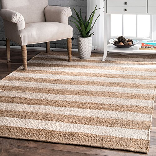 Jute and Denim Even Stripes Bleached Area Rugs, 4 Feet by 6 Feet (4' x 6')
