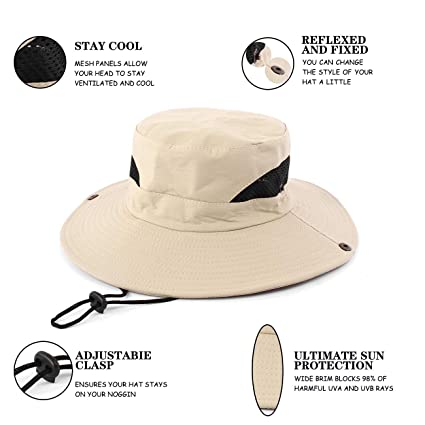 fffb1fa16 Amazon.com : FENDISI Boonie Fishing Sun Hats Men Hiking Safari Wide ...