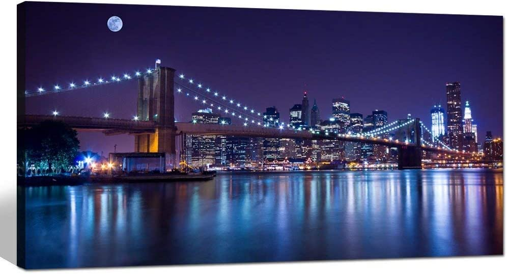 Sechars Brooklyn Bridge Canvas Wall Art Large Size 24 X48 Modern New York City Canvas Print Manhattan Skyline With Full Moon Giclee Wall Art For Home Office Wall Decor Framed And
