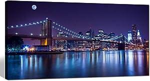 sechars - Brooklyn Bridge Canvas Wall Art Large Size 24