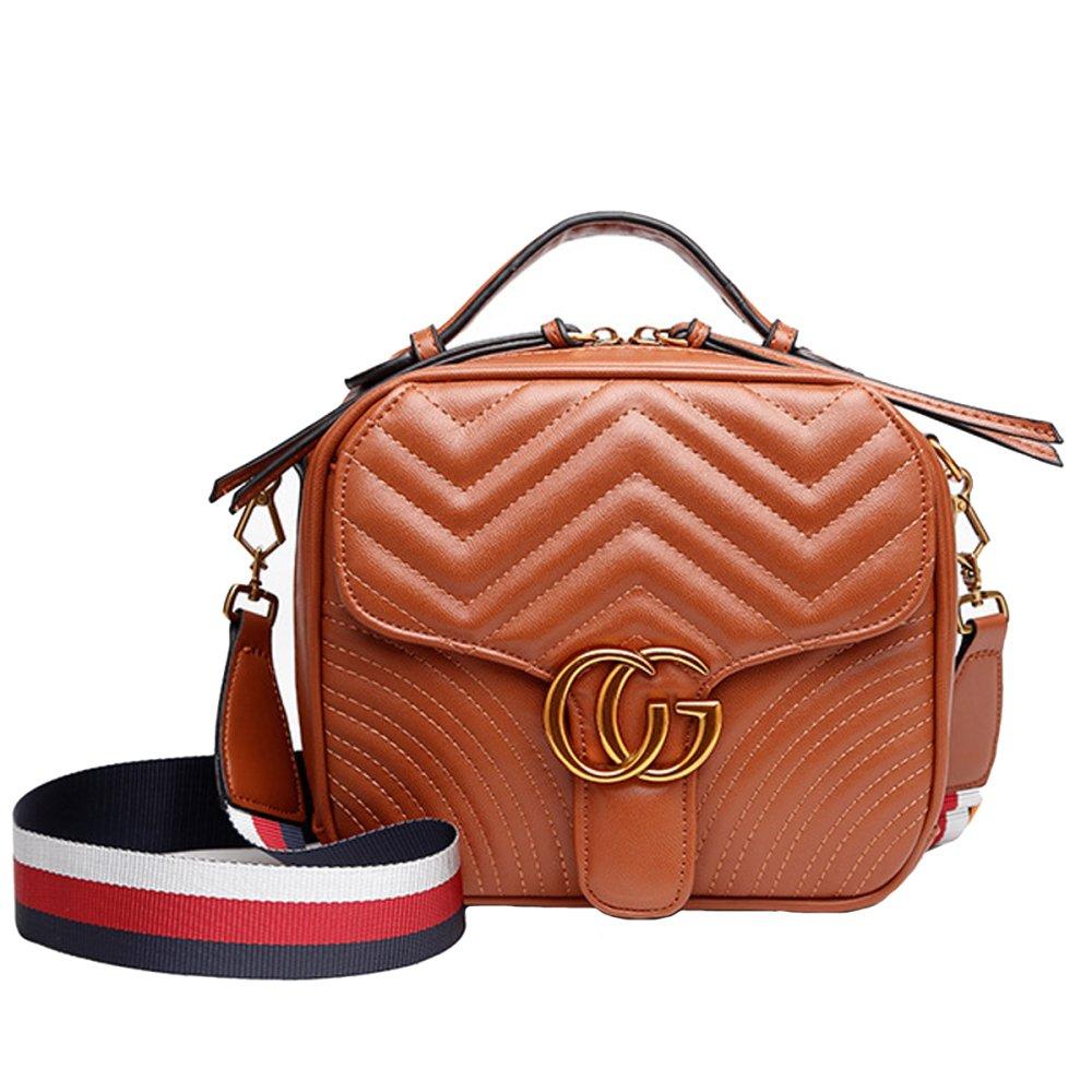 sac à main de couleur unie sac à main italien en cuir à la main en forme de V sac à bandoulière grande capacité élégant sac de soirée (marron, 22 * 19 * 9cm) PU