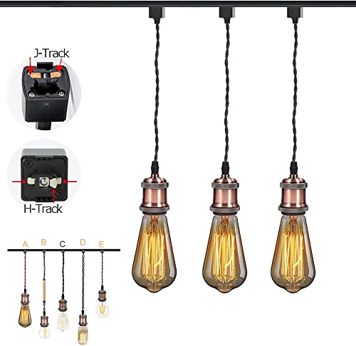 STGLIGHTING 3-Light H-Type Black Braided Wire Ceramic Socket Retro Style Mini Lighting Industrial Factory Bulb Sold Separately Customizable Dimmable Track Mount Pendant Lighting,Oil Rubbed Bronze