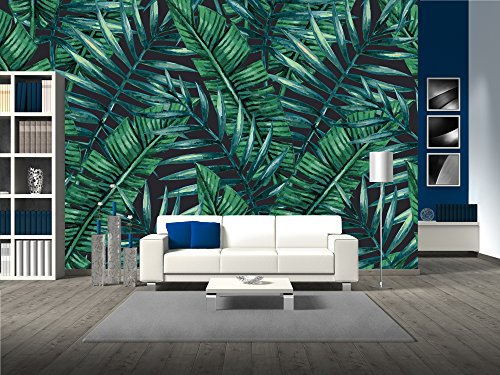 wall26 - Watercolor Tropical Palm Leaves Seamless Pattern. Vector Illustration. - Removable Wall Mural | Self-adhesive Large Wallpaper - 66x96 inches (Floral Print Wallpaper)