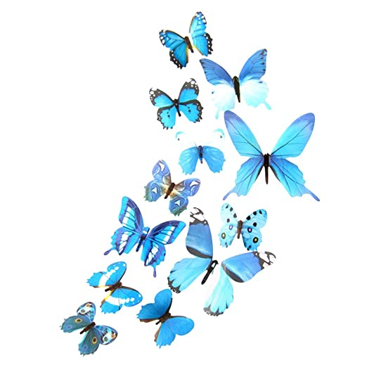 VORCOOL 12pcs Pegatinas de Pared Mariposa 3D extraíble Mural ...