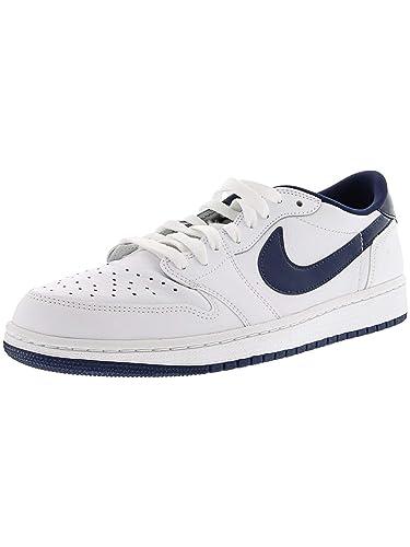 buy popular e6b7b 57a03 Nike Men s Air Jordan 1 Retro Low Og White Midnight Navy Ankle-High Fashion