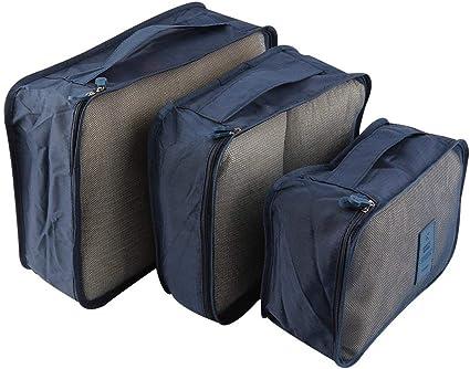 Bleu Marine 6 pcs vêtements sacs de stockage étanche emballage Voyage bagages Organisateur