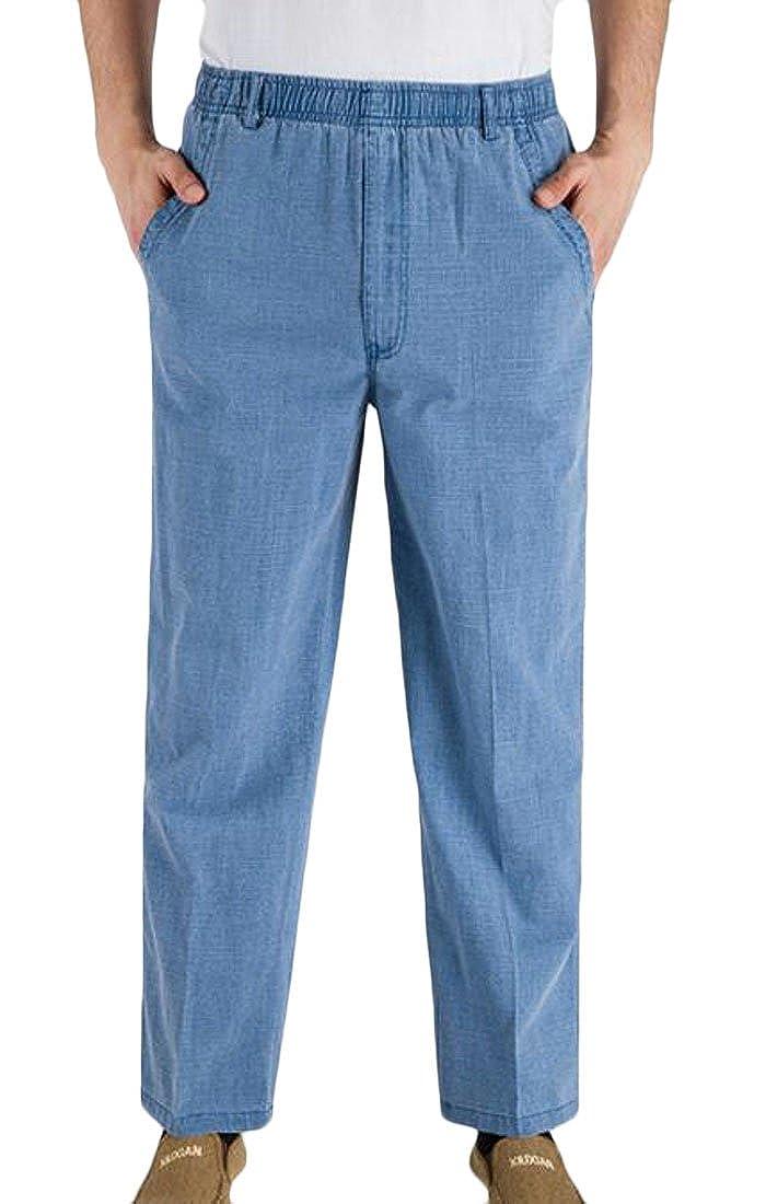 Wofupowga Mens Big and Tall Summer Elastic Waist Casual Straight Leg Solid Pants