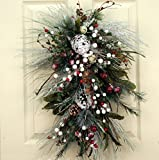 Wreaths For Door Frosted Winter Swag With Faux Winter Greens Winter Decorative Accessory Holiday Home Decor