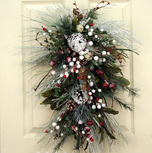 Frosted Winter Swag With Faux Winter Greens Winter Decorative Accessory Holiday Home Decor - Pine Door Swag
