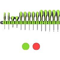 Olsa Tools | Premium Wall Mount Screwdriver Organizer | Black Nylon + Neon Green Clips | Holds 14 Screwdrivers