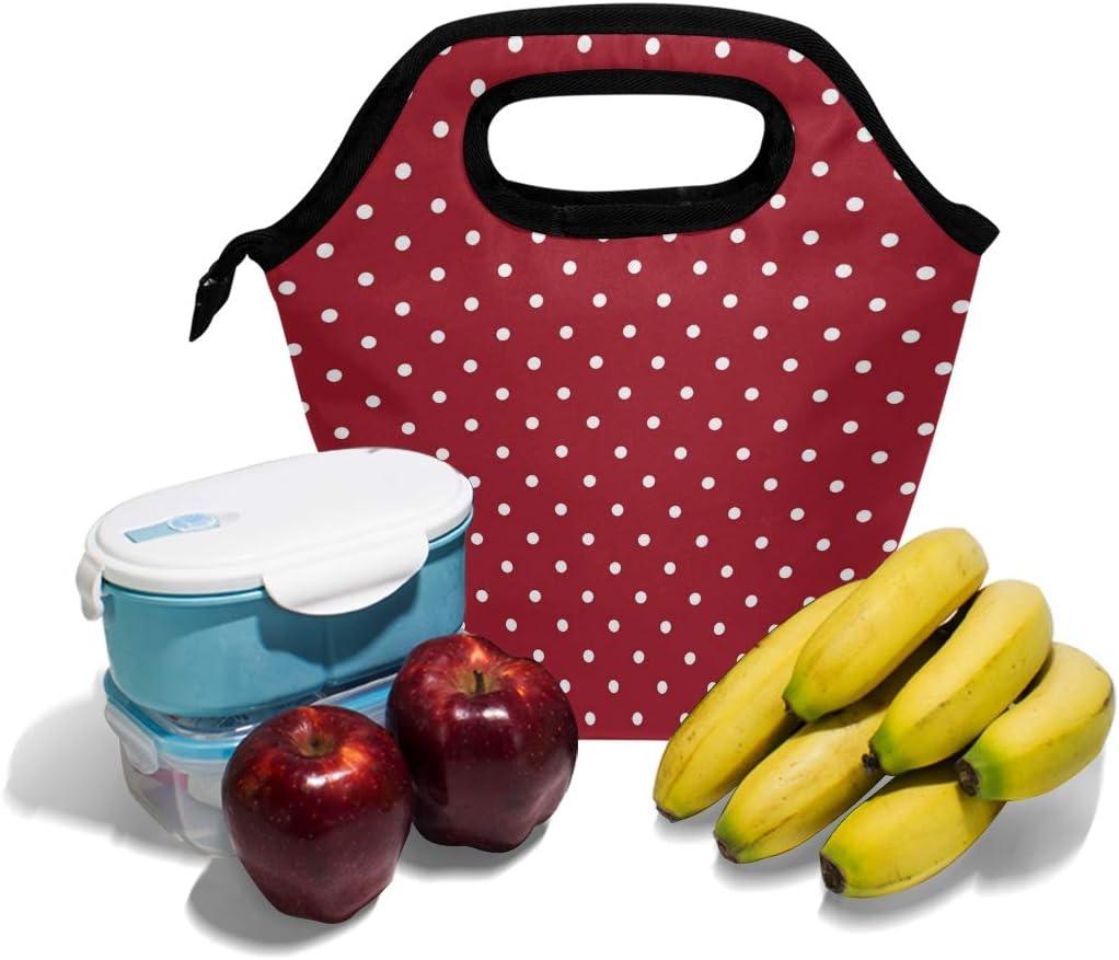 Lupinz Lunchtasche mit wei/ßen Punkten und rotem Hintergrund