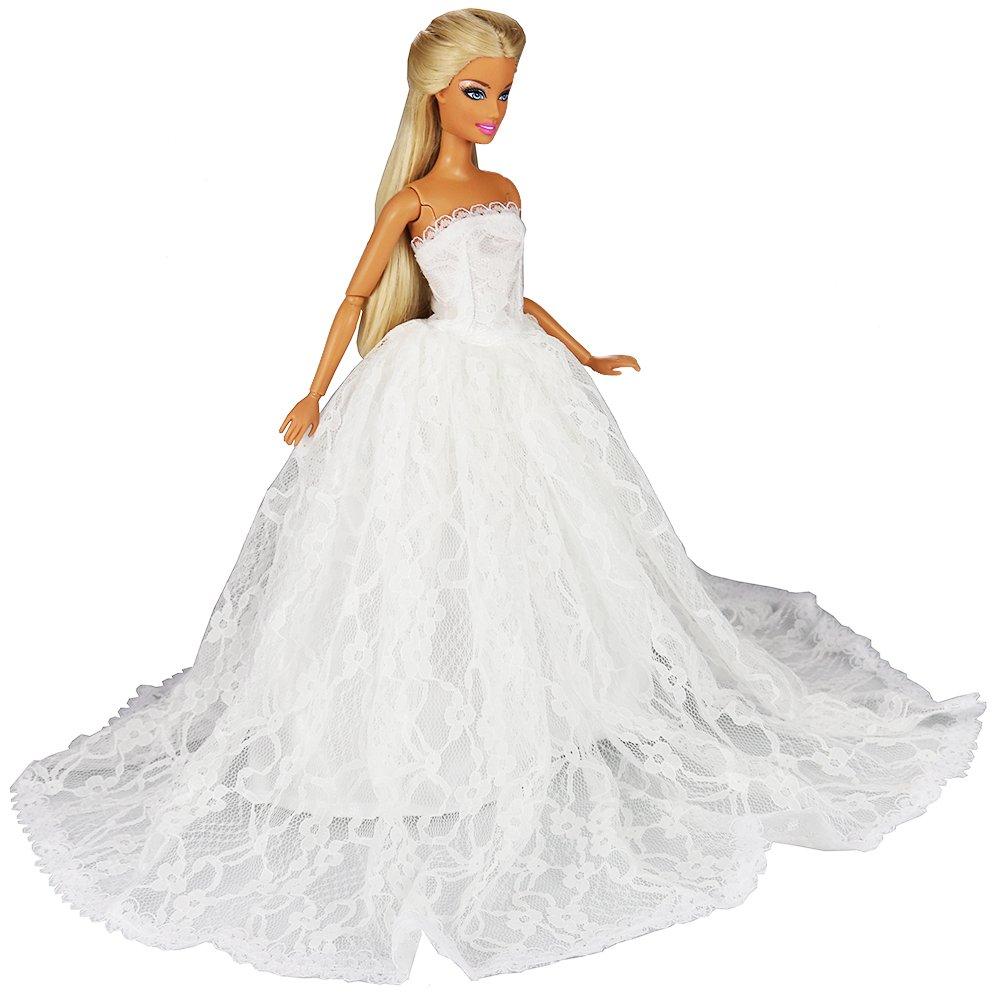 Miunana Abito Vestito da Sposa Grande Lussuoso Spalle Scoperte Velo per Bambola Barbie Dolls Beige