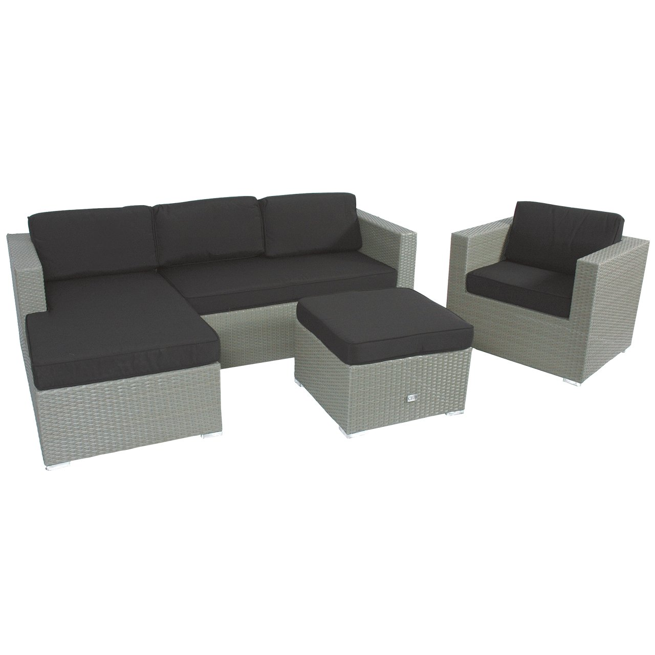 poly rattan ecklounge set 3tlg grau gartenm bel hocker stuhl g nstig online kaufen. Black Bedroom Furniture Sets. Home Design Ideas