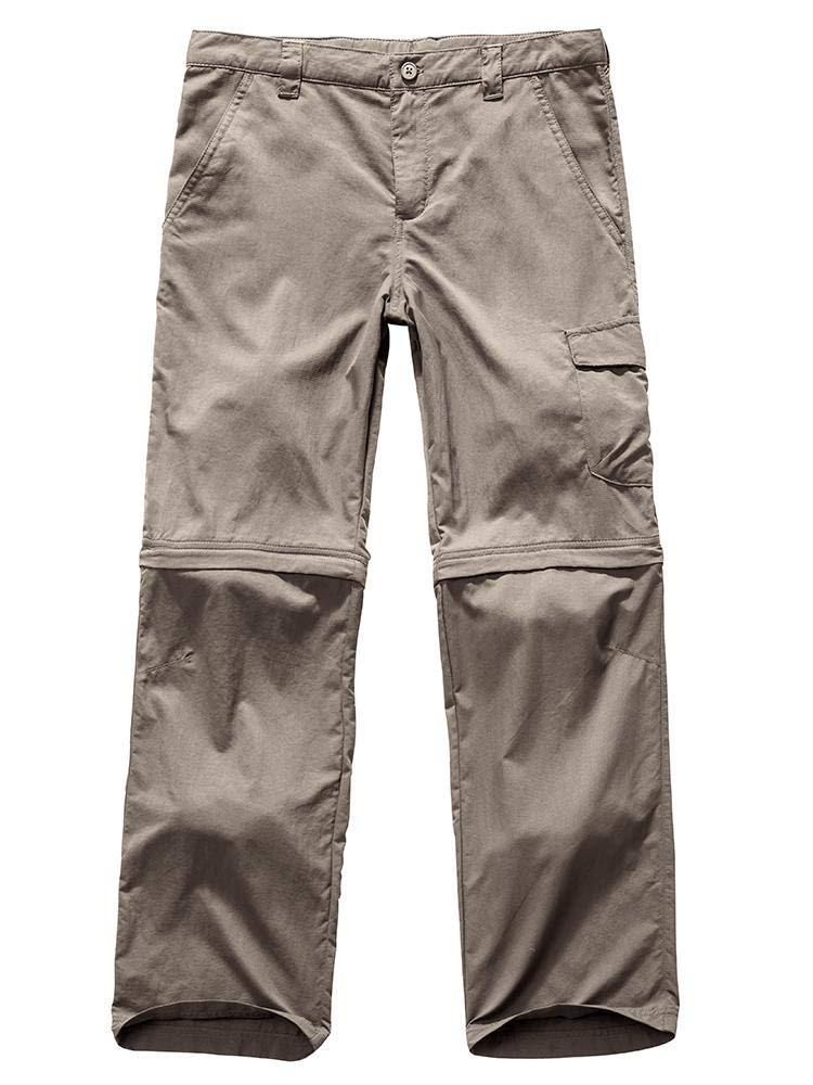 Kids Young Boy's Quick Drying Convertible Pants, Athletic Lightweight Outdoor Hiking Shorts, Travel Cargo Fishing Trousers,9011,Khaki M,10-12 Years by Toomett