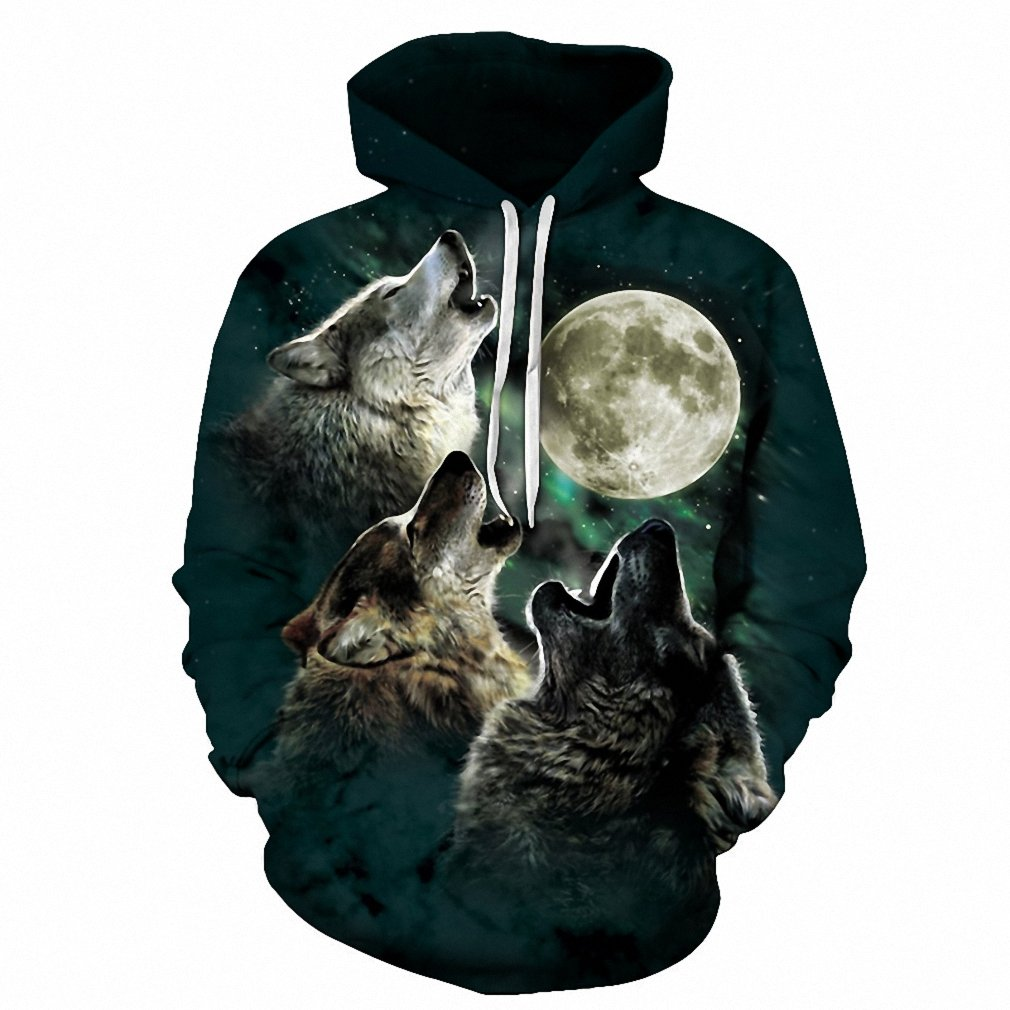 Wolf Pritned Men Women Hoodies 3D Hooded Sweatshirts Autumn Spring Pullover Mabeach
