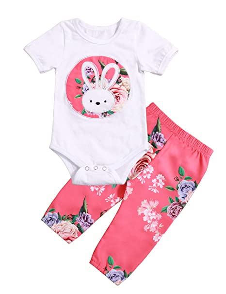 96f6693846e30 Baby Girls Clothes Cartooon Bunny Printed Short Sleeve Romper + Floral Pants  Outfits Set(0