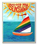 The Kids Room by Stupell You Are My Sunshine Rainbow Sailboat Rectangle Wall Plaque, 11 x 0.5 x 15, Proudly Made in USA
